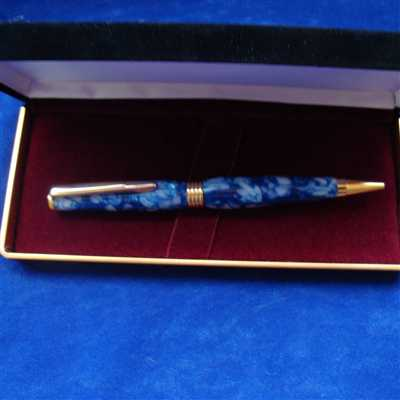 Blue and Gold twist pen